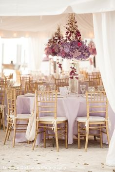 Check out Indian wedding reception couple images and other photos and videos in our gallery. Purple And Gold Wedding, Wedding Centerpieces, Table Decorations, Floral, Furniture, Gallery, Home Decor, Decoration Home, Roof Rack