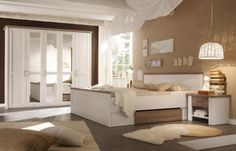 Schlafzimmer Mit Bett 180 X 200 Cm Pinie Weiss/ Trüffel Woody 62 00087 Mdf