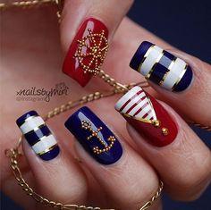 Anchor Nails - Nautical Nail Art Designs - Striped Nails - Nail art with Anchors - Handwheel Nails - Nautical Printed nails More Nail Art Videos: - Striped N. Anchor Nail Designs, Nautical Nail Designs, Anchor Nail Art, Nautical Nail Art, Nail Art Designs, Nautical Theme, Nails Design, Fingernail Designs, Gold Designs