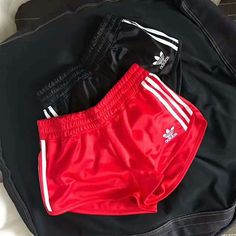 adidas Originals Women Sports Classic Three Stripe Red Shorts on Wanelo