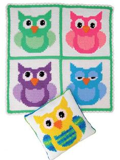 Blanket Buddies for baby.  Made using easy-to-crochet squares in single crochetfollowing color-change graphs.  $6.99