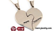 """Heart Necklace Set - Daughter Mother Necklaces """"Mom"""" and """"Daughter"""", Chains Included Mother Birthday Gifts, Mother Gifts, Gifts For Mom, Infinity Necklace, Men Necklace, Mother Necklace, Mother Daughter Jewelry, Mom Daughter, Double Heart Necklace"""