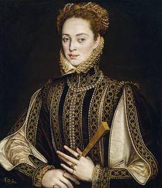 La dama del abanico, oleo del pintor Alonso Sánchez Coello. En el Museo del Prado. entre 1570 y 1573.