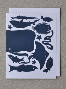 Deep Blue Winter Fish Note Card : Banquet Atelier & Workshop