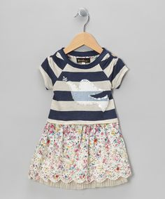 Take a look at this Navy Stripe Dove A-Line Dress - Toddler & Girls on zulily today!