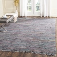 Safavieh Hand-woven Rag Rug Aqua/ Multi Cotton Rug (4' x 4') - Free Shipping On Orders Over $45 - Overstock.com - 18054928 - Mobile