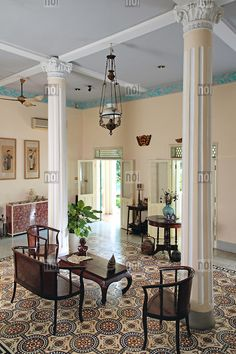 Bright and airy interior of an old colonial house, Ho Chi Minh City, Vietnam, Southeast Asia British Colonial Decor, Colonial Style Homes, French Colonial, Asian Interior, Colonial Furniture, Decoration Design, Ho Chi, Interior Design, Southeast Asia