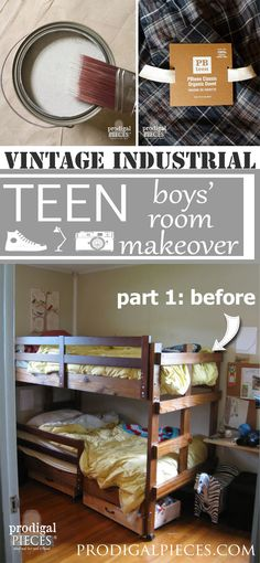 Our boy's room is getting a vintage industrial makeover from ceiling to floor. We are removing storage space to save our sanity! Come see why. by Prodigal Pieces www.prodigalpieces.com #prodigalpieces