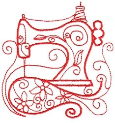 Enchanted Sewing 11 - 2 Sizes!   Redwork   Machine Embroidery Designs   SWAKembroidery.com