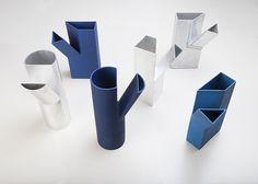 michael schoner: folded aluminum chop carafes - designboom   architecture