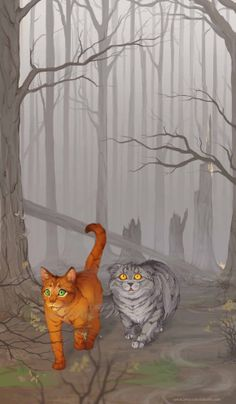 Fireheart and Greystripe tread through their recently burned camp. http://fav.me/d714zie