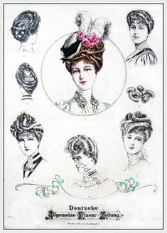 Hairstyles Belle Époque 19th century.