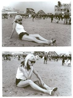 Debbie playing in the sand, on that infamous trip to Coney Island.