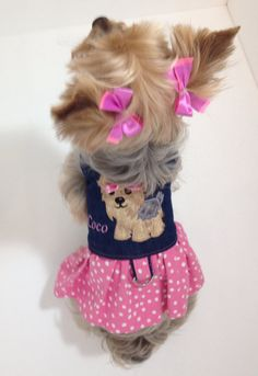 Personalized Yorkie Harness Dress by MaPetiteCoco on Etsy, $27.95