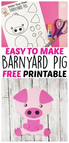 Easy DiY Pig Craft Activity for Preschool Kids – Simple Mom Project - Nutztiere Farm Animal Crafts, Pig Crafts, Animal Crafts For Kids, Horse Crafts, Paper Crafts For Kids, Crafts For Kids To Make, Toddler Crafts, Diy Crafts For Kids, Farm Theme Crafts
