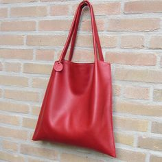 Leather Tote bag / shopper Rinarts in beautiful red  handmade by rinarts
