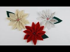 Christmas decoration poinsettias DIY ponsettia Xmas deco winter rose crafting with felt, My Crafts