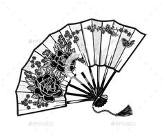 Oriental Fan Decorated with Flowers Peonies #legtattoos