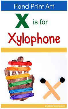 X is for Xylophone Preschool Craft | Handprint art