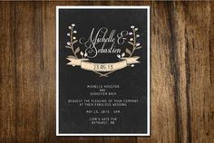 Rustic Blackboard Wedding Digital Invitation by MotivateandInspire