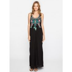 Ziva Dress The Johnny Was ZIVA DRESS is the ultimate bohemian statement piece! This flowy maxi dress features a stunning embroidery design that combines Folk Art-inspired florals, dream catcher, and feather motifs in a bold turquoise and pink color palette. Turn heads as you pair the ZIVA DRESS with strappy heeled sandals and stacked gold bracelets for summertime special occasions!  - Rayon Georgette - Slip Included - Scoop Neckline, Wide Straps, Flared Maxi Skirt - Signature Embroidery…
