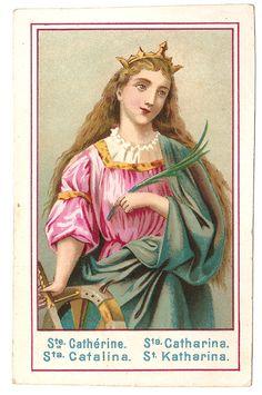 St. Catherine Antique Vintage French Holy Prayer by 12StarsVintage