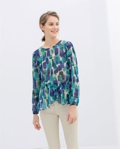 ZARA - NEW COLLECTION - PRINTED BLOUSE WITH FRILL