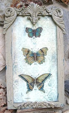 Shabby Chic Framed Vintage Butterfly Painting,  by AKA Decorative Art