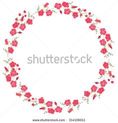 Detailed contour wreath with herbs, roses and wild flowers isolated on white…