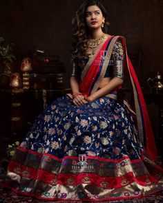 Sampradaya - 051 SOLD Being Classy isn't a choice. It's a Lifestyle . For orders/queries Call/ what's app us on 8341382382 or Mail us… Indian Lehenga, Half Saree Lehenga, Lehnga Dress, Lehenga Blouse, Banarasi Lehenga, Ikkat Saree, Sharara, Lehenga Choli Designs, Designer Bridal Lehenga