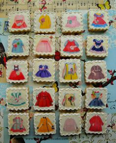 Adorable! Cookies made with vintage paper doll images.