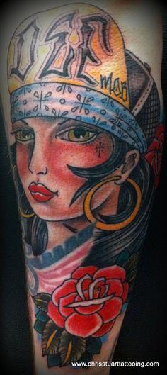 Tattooed Chola girl / big hoops / def mob / bandana / roses tattoo by Chris Stuart www.chrisstuarttattooing.com www.facebook.com/chrisstuarttattooing Instagram: @chrisxempire Chrisstuarttattooing@gmail.com Ace Tattoos, Charlotte,NC