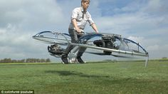 Inventor Colin Furze (pictured) has created a working hoverbike that lets him speed along in mid-air with the help of two impressive fans.The inventor came up with the idea based on the suggestions of thousands of viewers who asked for him to create some sort of flying machine