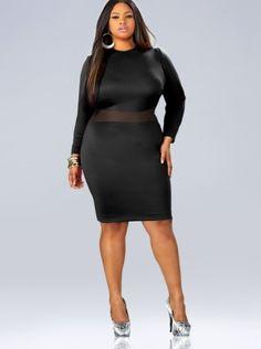 Curvy Woman Black Dress and Silver High Heels