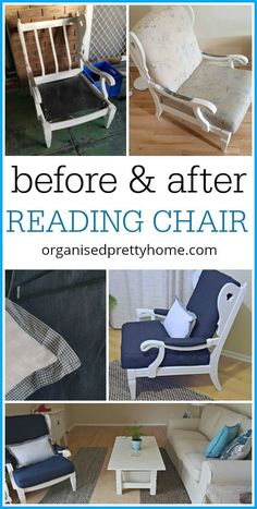 DIY reading armchair restored furniture makeover. Living room ideas and design. Blue colours and white, beige neutrals.  Painted chair and sew cushion covers.  One Room Challenge - Before and After - Living Room Reveal - Organised Pretty Home #coastal #decor #decorating #livingroom #bluedecor #whitedecor #ikea #kmart #target #home #roommakeover #ideas #diy #paintedchair #oneroomchallenge #interiordesign #smallspaces #white #room