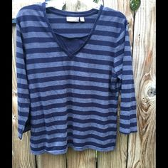 3/4 SLEEVE STRIPED KNIT TOP Blue and gray blue stripes knit top 100% cotton Croft & Barrow Tops