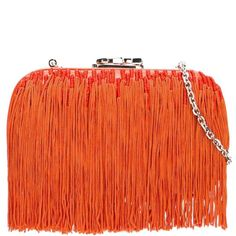 Corto Moltedo 'Susan C Star' fringed clutch ($1,176) ❤ liked on Polyvore featuring bags, handbags, clutches, orange, orange handbags, orange clutches, orange purse, fringe purse and star purse