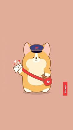 Cute Corgi, Corgi Dog, Cat Wallpaper, Kawaii Wallpaper, Kawaii Drawings, Cute Drawings, Cute Cartoon Animals, Cute Animals, Stitch Drawing