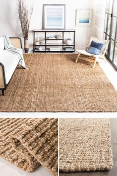 Rugs made from fibers like sisal and jute are one way to add a natural touch to a modern farmhouse interior, and are ideal for a high traffic area. Modern Farmhouse Interiors, Farmhouse Rugs, Boho Living Room, Living Room Decor, Deco Studio, Hotel Room Design, Tapis Design, Rugs On Carpet, Stair Carpet
