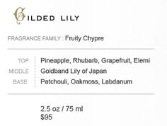 Fragrance Family : Fruity Chypre, Top Notes Pineapple, Rhubarb, Grapefruit, Bergamot, Apple, Peach, Elemi