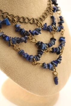 Lapis Lazuli Blue Bib Necklace by TesoroDelSol on Etsy, $65.00