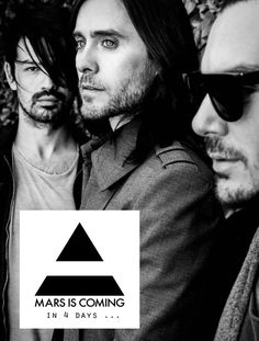 Thirty Seconds To Mars. in 4 days . Drag Music, Rock Music, Thirty Seconds, 30 Seconds, Jered Leto, Theme Tunes, Mission To Mars, Cool Lyrics, Life On Mars