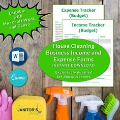 You can customize these housecleaning business income and expense forms with MS Word and Canva. Each form is exclusively designed for house cleaning business owners Building Cleaning Services, Professional Cleaning Services, House Cleaning Checklist, Cleaning Contracts, Maid Cleaning Service, Cleaning Business, Office Cleaning, Cleaning Hacks, Business Signs