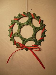 Bike gear Christmas wreath ornament by DorisGrimmsGiftShop on Etsy, $15.00 decor decoration holiday Christmas  http://www.biketalker.com