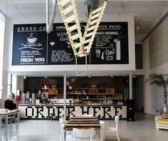 Grand Cafe-Ingeborg Wolters Dutch designer Bertjan Pot combined a safety step ladder with carnival lights to create a disco industrial vibe at the Grand Cafe Wenneker in Holland. Industrial Light and Magic: A Disco-Inspired Cafe in Holland. by Julie Carlson, Julie Carlson Remodelista.com