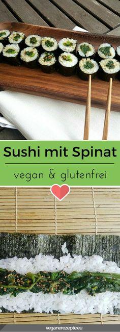 Da sagt noch einmal einer, dass veganes #Sushi langweilig sein muss. #vegan #spinat #hosomaki #maki #glutenfrei #gesund