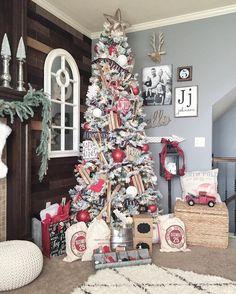 Farmhouse Christmas Tree, Flocked Christmas Tree, Red & White Ornaments, Rustic Style Tree,