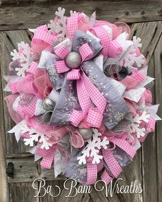"93 Likes, 10 Comments - Ba Bam Wreaths (@babamwreaths) on Instagram: ""I just love this custom Pink Wintery wreath ❄️❄️❄️❄️❄️❄️"""