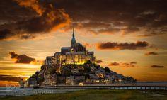 Le Mont Saint Michel by WayneCooley  Architecture Building Castle Dusk France Mont Saint Michel Monument Normandy Seascape Sunset Tourism