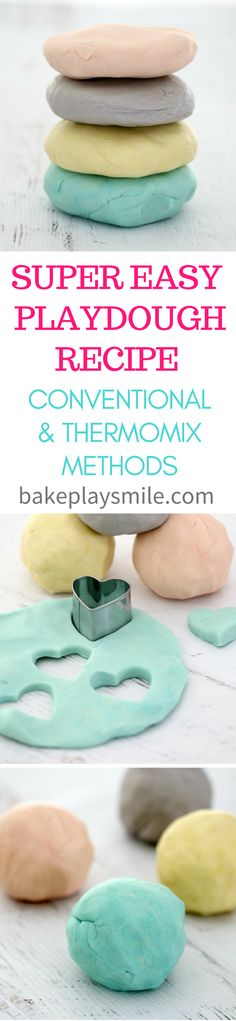 Super Easy Playdough Recipe (Thermomix and Conventional Methods)  Playtime has never been quite so fun as it is with my super easy cooked playdough recipe (with both Thermomix and conventional methods). Whip up a batch and the kids will be playing happily for hours! #playdough #easy #recipe #kids #holidays